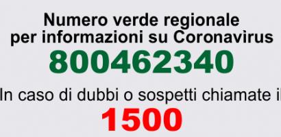 numero verde per info su Coronavirus