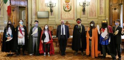 Il presidente Fabio Bui con i Goliardi padovani