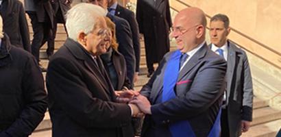 Il presidente Mattarella saluta il presidente della Provincia di Padova Fabio Bui