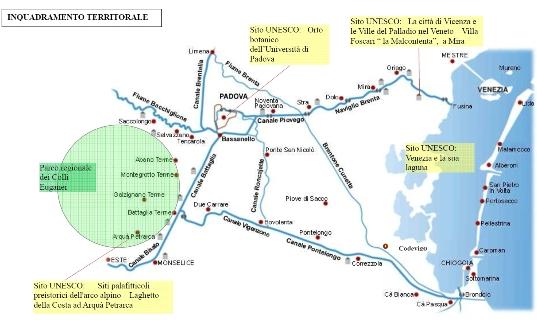 Cartina Idrografica Veneto.La Rete Dei Siti Unesco Del Veneto Centro Orientale Tra Padova E La Laguna Di Venezia Provincia Di Padova